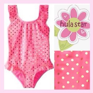 NWOT Hula Star Ruffle Polka Dot Swimsuit